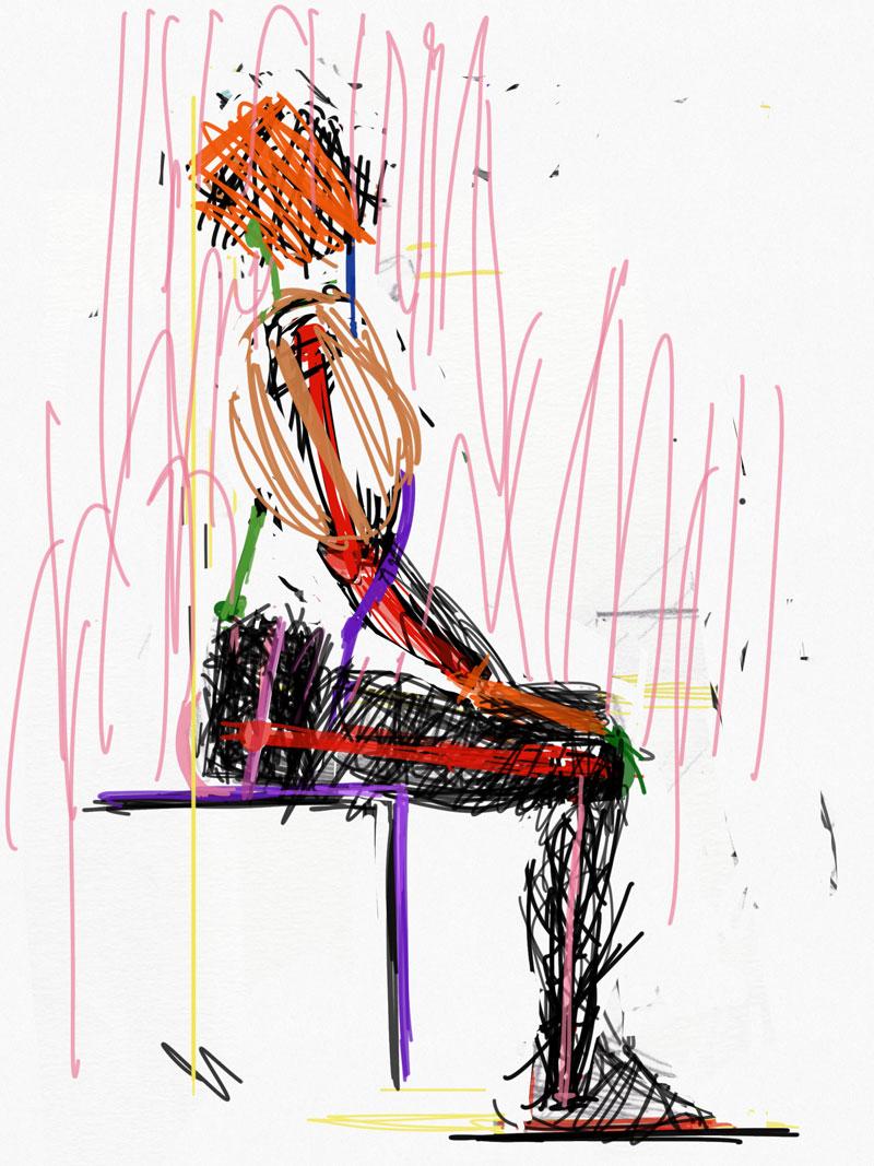 Sedeča ženska postava od strani, junij 2020
