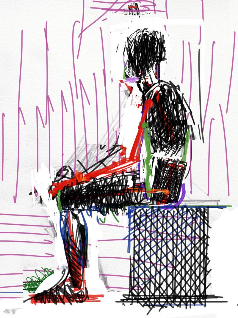 Sedeča moška postava od strani, junij 2020